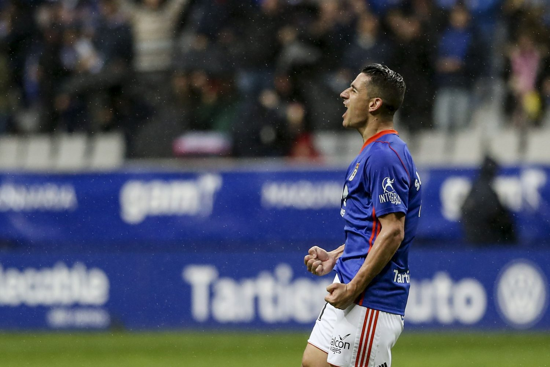Saúl Berjón celebra su gol ante el Nástic de Tarragona